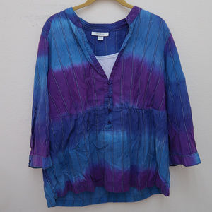 Dressbarn Blue Purple Buttons Ombre Popover Blouse